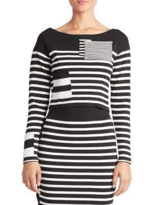 Altuzarra Cropped Monochrome Stripe Sweater