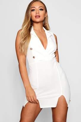 boohoo Double Breasted Side Split Blazer Dress