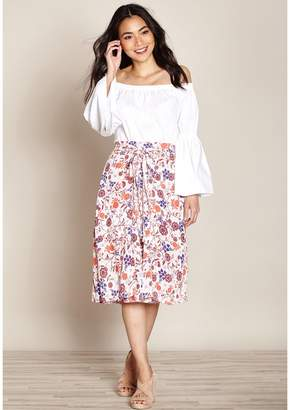 Yumi Floral Print Straight Skirt with Tie Waist