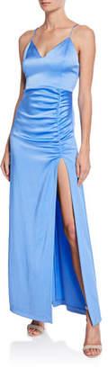 Alice + Olivia Diana V-Neck High Slit Maxi Dress
