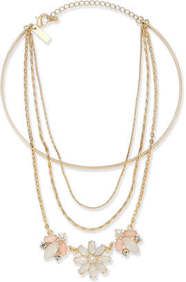 "INC International Concepts I.n.c. Gold-Tone Multi-Chain Flower Choker Necklace, 12"" + 1"" extender"
