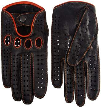 Hungant Men's Classic Driving Gloves Vintage Style Deerskin Stitching and Piping