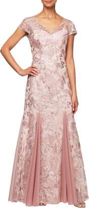 Alex Evenings V-Neck Embroidered Evening Dress