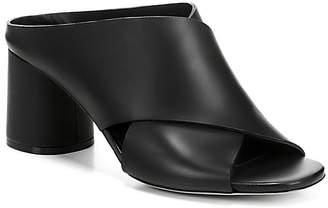 Vince Women's Theron Leather Block Heel Slide Sandals