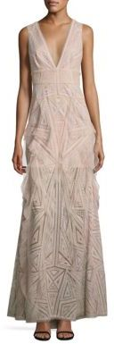 BCBGMAXAZRIA Woven Lace Ruffle Gown $528 thestylecure.com