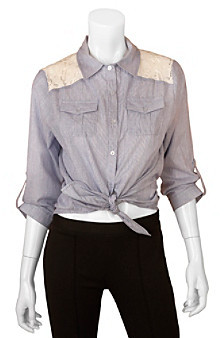 Amy Byer A Byer A. Byer Juniors' Tie-Front Woven Top