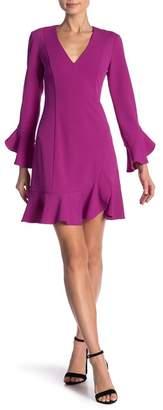 Donna Morgan Bell Sleeve Ruffled Crepe Dress
