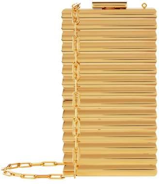 Metallic Box Clutch, Gold, One Size
