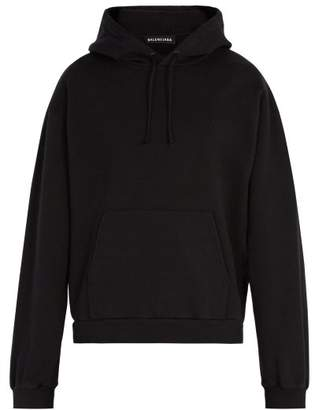 Balenciaga Self Help Print Hooded Sweatshirt - Mens - Black