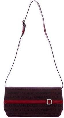 Dolce & Gabbana Logo Patent-Leather-Trimmed Shoulder Bag