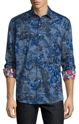 Robert Graham Limited Edition Printed Sport Shirt W/Embroidery, Blue $498 thestylecure.com