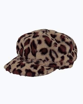 Express San Diego Hat Company Leopard Faux Fur Baker Boy Hat