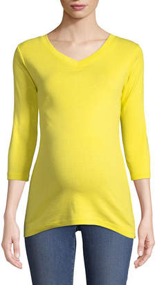 PLANET MOTHERHOOD Planet Motherhood 3/4 Sleeve V Neck T-Shirt - Maternity