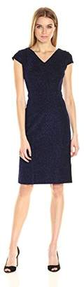 Betsey Johnson Women's Shimmer Blue Textured Knit Sheath Dress, Electric, 8