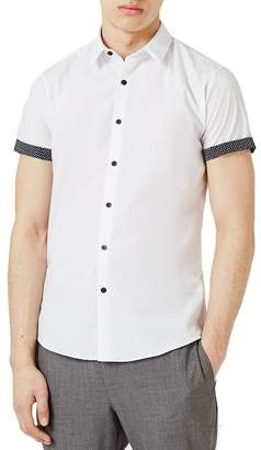 Topman Dot Cuff Shirt