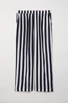 H&M H & M+ Wide-leg Pants - Black/white striped - Women