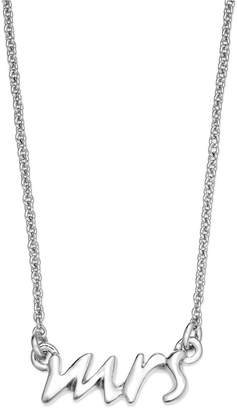 Kate Spade Necklace, Silver Tone Say Yes Mrs. Pendant Necklace