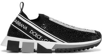 Dolce & Gabbana Sorrento Swarovski Crystal-embellished Logo-print Mesh Slip-on Sneakers - Black