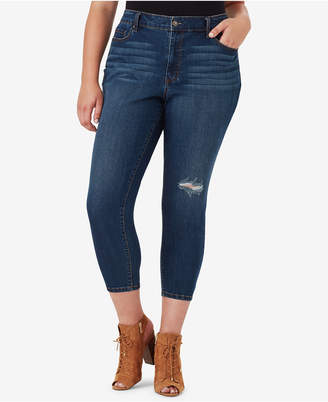 Jessica Simpson Juniors' Adored Plus Size Ripped Curvy Skinny Ankle Jeans