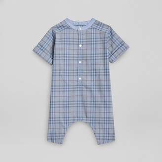 Burberry Childrens Bib Detail Check Cotton Jumpsuit