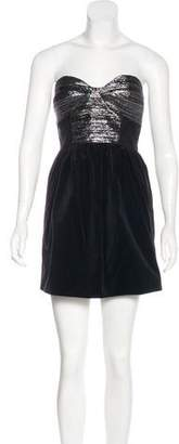 Tibi Strapless Metallic-Accented Dress