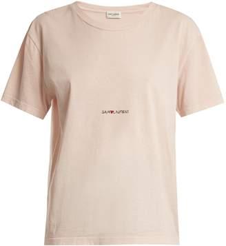 Saint Laurent Distressed logo-print cotton-jersey T-shirt