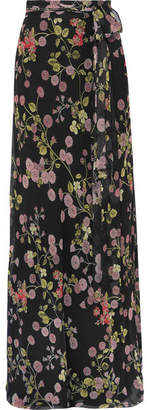 Giambattista Valli Floral-print Silk-georgette Maxi Skirt - Black
