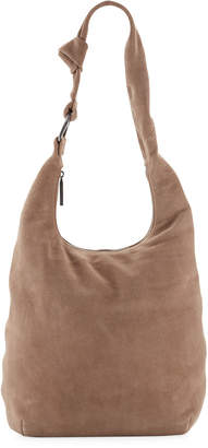 Halston Suede Large Hobo Buckle Bag, Mushroom