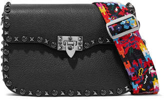 Valentino Garavani The Rockstud Textured-leather Shoulder Bag - Black