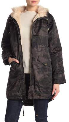 Lucky Brand Camo Faux Fur Trimmed Coat