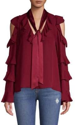 Alice + Olivia Gia Ruffle Cold-Shoulder Silk Blouse