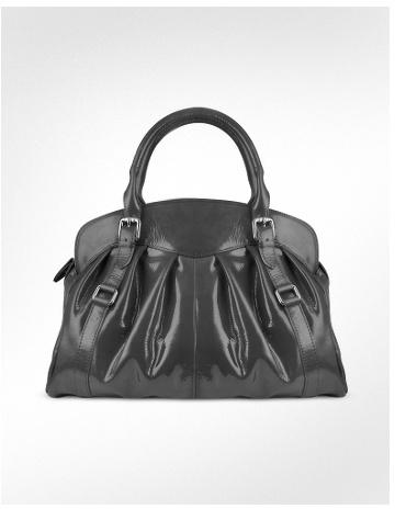 Forzieri Pleated Patent Leather Handbag