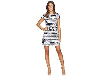 Jessica Simpson Printed Texture Knit T-Shirt Dress Women's Dress