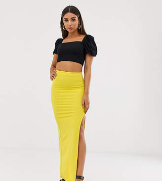 234383af45b Missguided thigh split maxi skirt in yellow