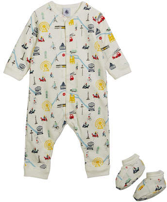 Petit Bateau Transportation-Print Coverall w/ Booties, Size 1-6 Months