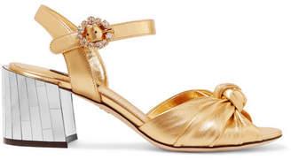 8b84f0aa902 Dolce   Gabbana Crystal-embellished Metallic Leather Sandals - Gold