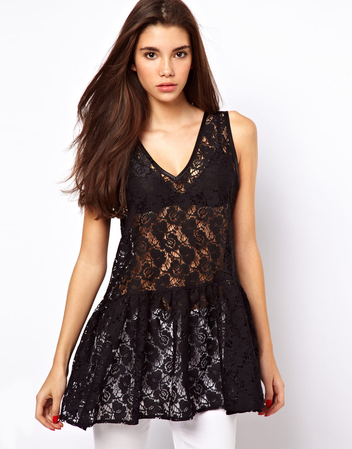 Asos Peplum Top in Lace with Drop Waist
