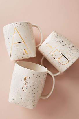Anthropologie Gilded Shapes Monogram Mug