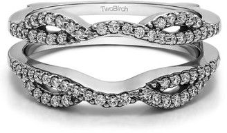 TwoBirch Infinity Criss Cross Designed Ring Guard Enhancer in Sterling Silver (0.32ctw)