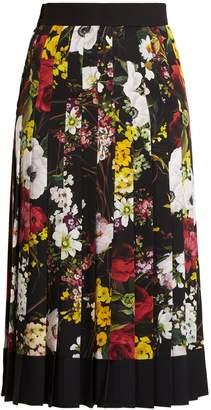DOLCE & GABBANA Floral-print pleated silk-blend charmeuse skirt $1,695 thestylecure.com
