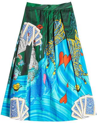 Mary Katrantzou Printed Cotton Midi Skirt