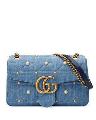 Gucci GG Marmont 2.0 Medium Quilted Denim Shoulder Bag with Studs
