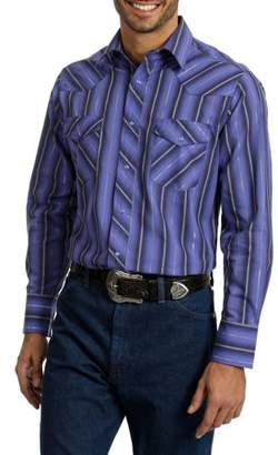 Wrangler Men's Long Sleeve Striped Western Shirt