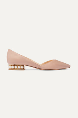 Nicholas Kirkwood Casati Embellished Leather Point-toe Flats - Blush