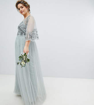 Maya Plus Sequin Cape Tulle Skirt Maxi Bridesmaid Dress