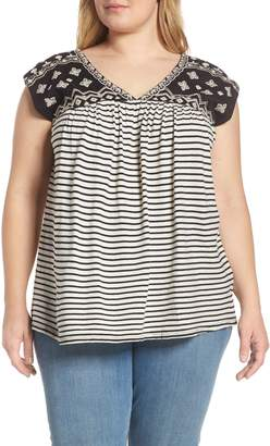 Lucky Brand Embroidered Detail Stripe Top