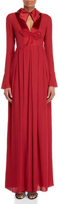 Giamba Red Bow Long Sleeve Gown