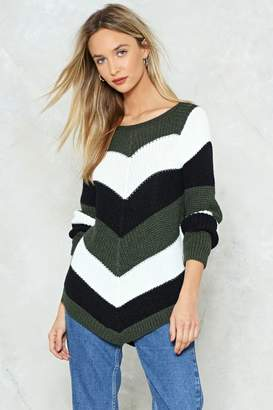 Nasty Gal Bye Miss American Pie Chevron Sweater
