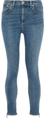 Rag & Bone Zip-Detailed Faded High-Rise Skinny Jeans
