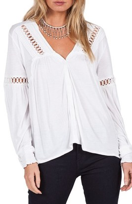 Volcom Pinned Down Crochet Trim Blouse $49.50 thestylecure.com